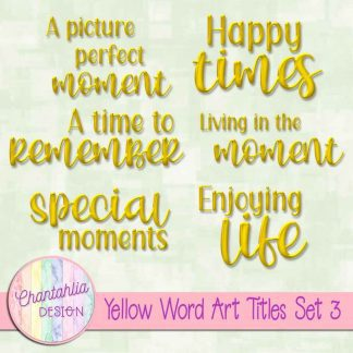 Free scrapbook title word art.in a yellow brushed metal style