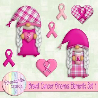 Free design elements in a Breast Cancer Gnomes theme