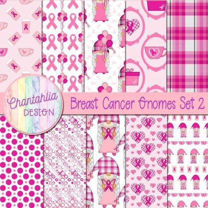 Free digital papers in a Breast Cancer Gnomes theme