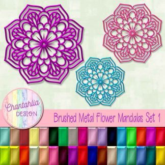 Free flower mandala design elements in a brushed metal style