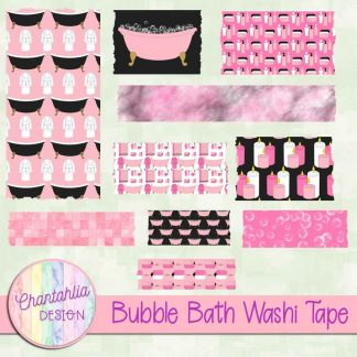 Free washi tape in a Bubble Bath theme.