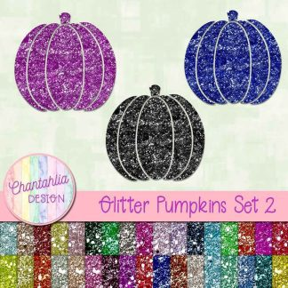 free pumpkin design elements in a glitter style