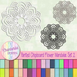 Free flower mandala design elements in a painted chipboard style